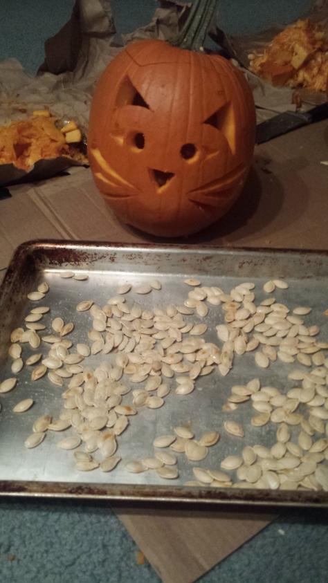 cat pumpkin with toasted pumpkin seeds